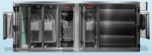 Der PlasmaStream-Einsatz von Bäro filtert Fette und Gerüche in vier Stufen und lässt sich in bestehende Küchenabluftanlagen einbauen. Foto: Bäro