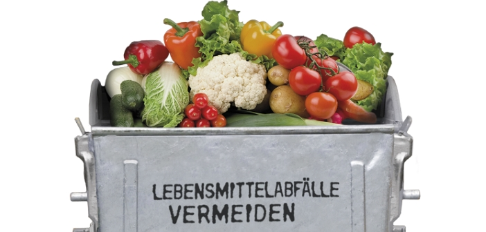 Abfalltonne mit Lebensmitteln