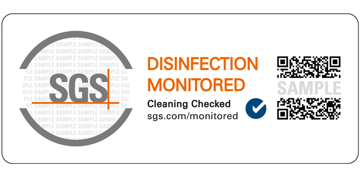 """Disinfection Monitored"" Prüfzeichens des SGS Institut Fresenius"