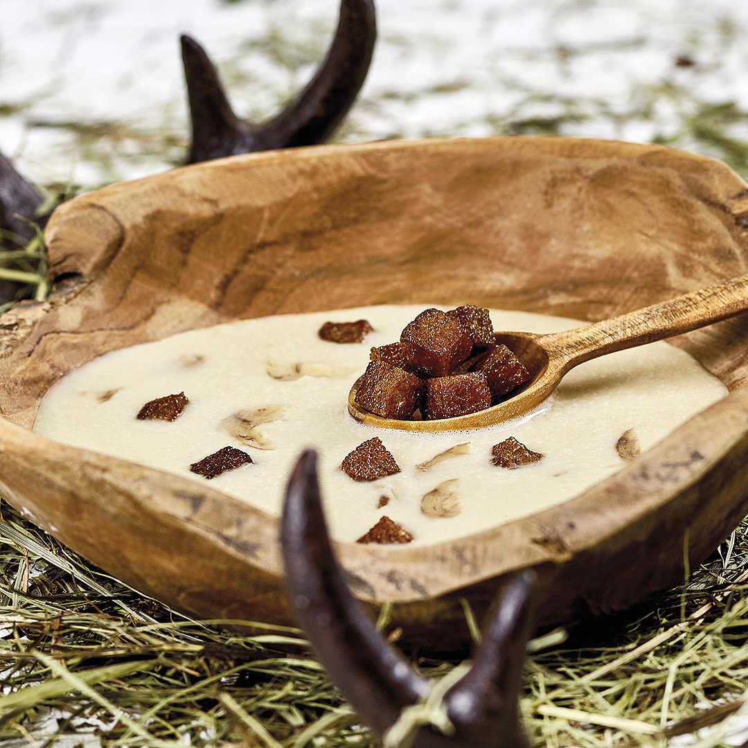 Sellerie – Maroni Suppe mit Honig Croutons