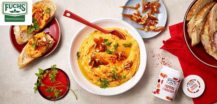 Loaded Süßkartoffel Hummus mit Nuss-Crunch