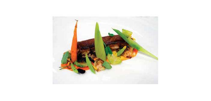 Schweinebauch mit Fenchel, Kastanien und Karotten-Creme
