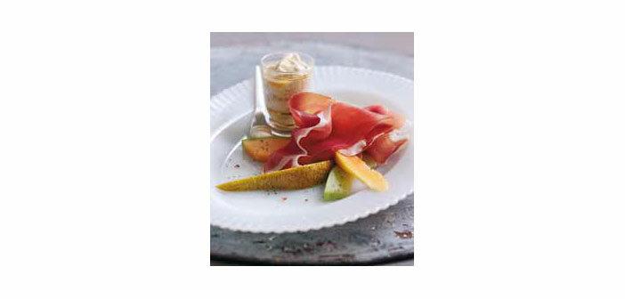Früchte mit Parmaschinken g.U. und Honig-Ingwersauce
